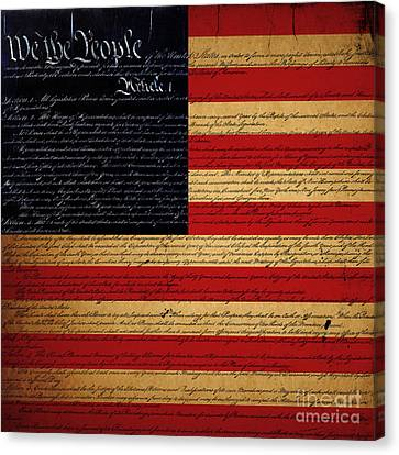 We The People - The Us Constitution With Flag - Square Canvas Print by Wingsdomain Art and Photography