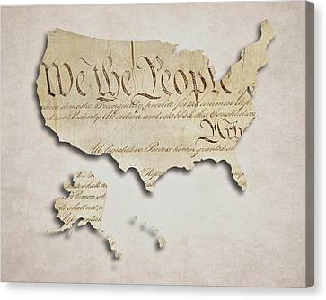 Founding Fathers Canvas Print - We The People - Us Constitution Map by World Art Prints And Designs