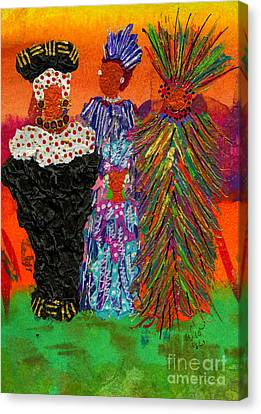Canvas Print featuring the painting We Women Folk by Angela L Walker
