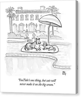 Wealthy Dogs Discuss Cats In Hollywood Canvas Print by Paul Noth