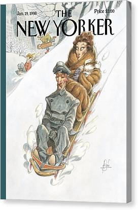 Wealthy Woman Rides A Sled With A Driver Canvas Print by Peter de Seve