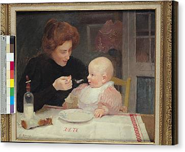 Weaning Oil On Canvas Canvas Print by Jules Ernest Renoux