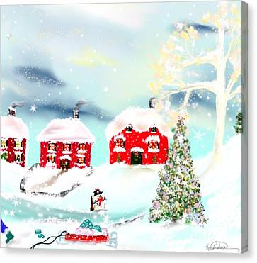 Canvas Print featuring the painting Wear Those Hats And Mittens by Lori  Lovetere