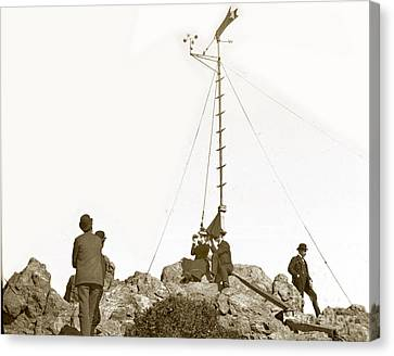 Canvas Print featuring the photograph Weather Station Mount Tamalpais Marin County California Circa 1902 by California Views Mr Pat Hathaway Archives