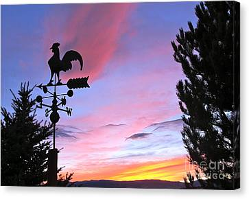 Weather Vane Sunset Canvas Print by Phyllis Kaltenbach