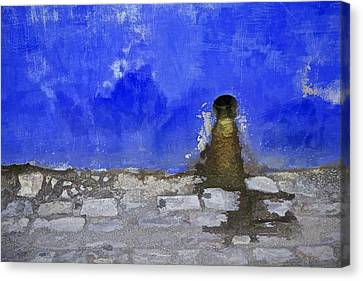 Weathered Blue Wall Of Old World Europe Canvas Print by David Letts
