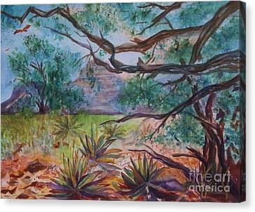Arizonia Canvas Print - Weathered Branches And Yuccas In Red Rock Country by Ellen Levinson
