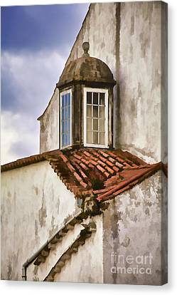 Weathered Building Of Medieval Europe Canvas Print by David Letts