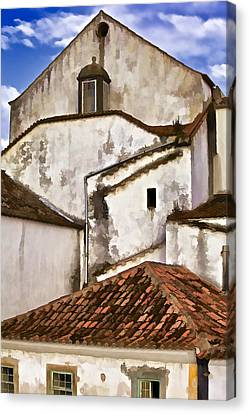 Weathered Buildings Of The Medieval Village Of Obidos Canvas Print by David Letts