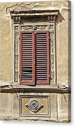 Weathered Red Wood Window Shutters Of Tuscany II Canvas Print by David Letts