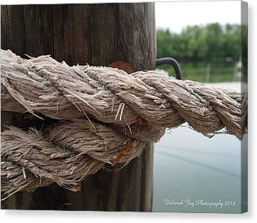 Weathered Ropes On The Dock Canvas Print by Deborah Fay