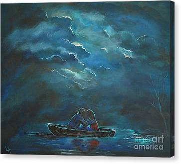 Weathering The Storm Canvas Print by Leslie Allen