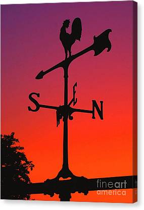Weathervane At Sunset Canvas Print by Nick Zelinsky