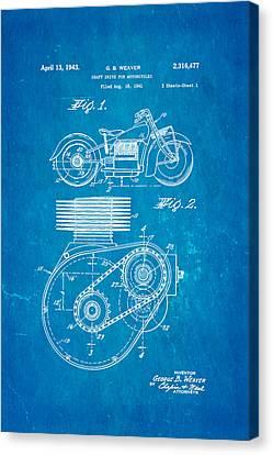 Weaver Indian Motorcycle Shaft Drive Patent Art 1943 Blueprint Canvas Print by Ian Monk