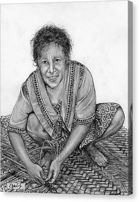 Canvas Print featuring the drawing Weaving A Mat 2 by Lew Davis