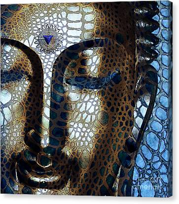 Web Of Dharma - Modern Blue Buddha Art Canvas Print