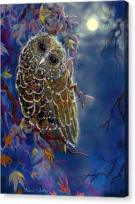 Web Wardrobe For Owl Parties Canvas Print by Arlene Delahenty