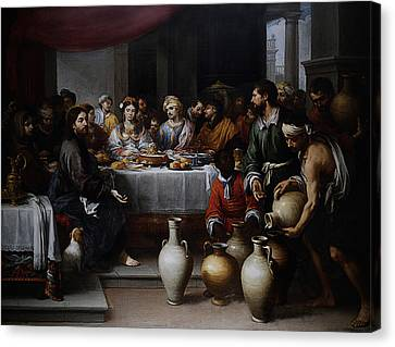 Canvas Print featuring the digital art Wedding At Cana by Esteban Murillo