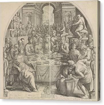 Wedding At Cana, Jacob Matham, Hendrick Goltzius Canvas Print by Jacob Matham And Hendrick Goltzius And Simon Sovius