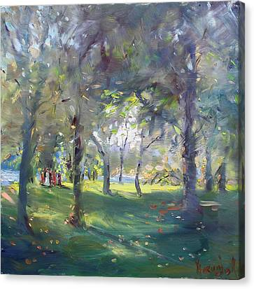Wedding Celebration In The Park Canvas Print by Ylli Haruni