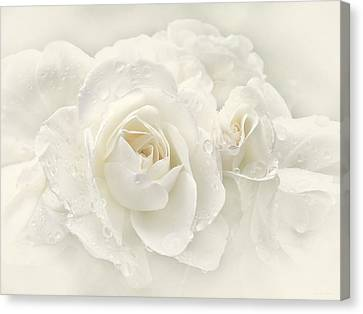 Wedding Day White Roses Canvas Print by Jennie Marie Schell