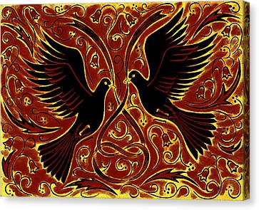 Wedding Doves, 2013 Woodcut Canvas Print by Nat Morley