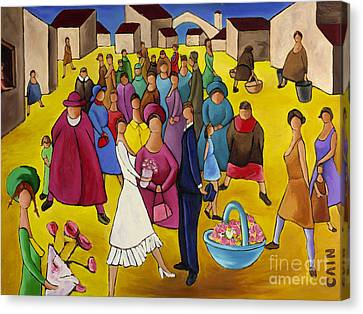 Wedding In Plaza Canvas Print by William Cain