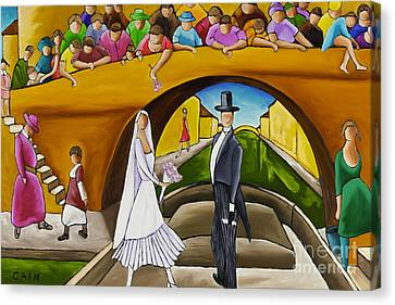 Wedding On Barge Canvas Print by William Cain