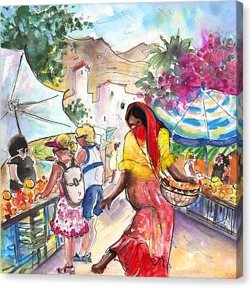 Wednesday Market In Mojacar Pueblo Canvas Print by Miki De Goodaboom