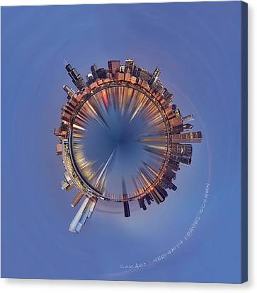Wee Chicago Sunrise Planet Canvas Print by Nikki Marie Smith