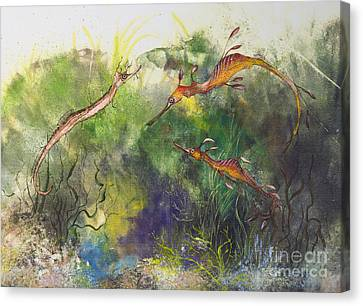 Weedy And Ribbon  Sea Dragons Canvas Print by Nancy Gorr