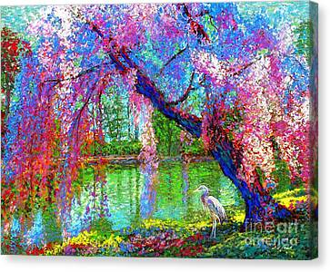 Great Blue Heron Canvas Print - Weeping Beauty, Cherry Blossom Tree And Heron by Jane Small