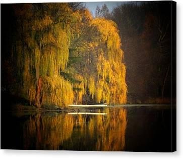 Weeping Willow Pier Canvas Print by Michael L Kimble