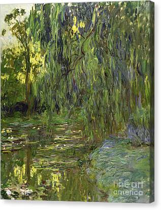 Weeping Willow Canvas Print - Weeping Willows The Waterlily Pond At Giverny by Claude Monet