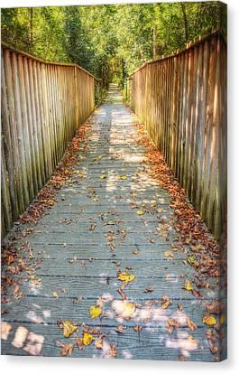 Wehr Nature Center Bridge In Autumn  Canvas Print by Jennifer Rondinelli Reilly - Fine Art Photography