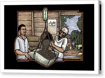 Weighing Coffee Canvas Print by Ricardo Levins Morales