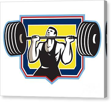 Weightlifter Lifting Heavy Barbell Retro Canvas Print by Aloysius Patrimonio