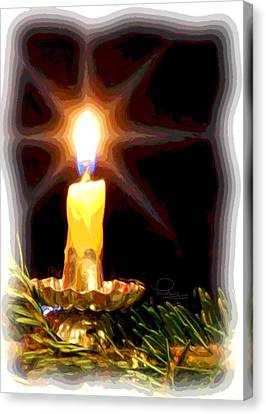 Canvas Print featuring the photograph Weihnachtskerze - Christmas Candle by Ludwig Keck