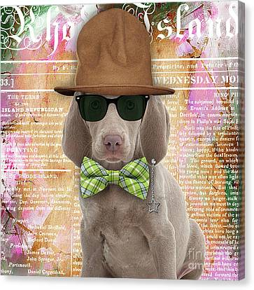 Weimaraner Bowtie Collection Canvas Print by Marvin Blaine