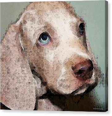 Weimaraner Dog Art - Forgive Me Canvas Print by Sharon Cummings