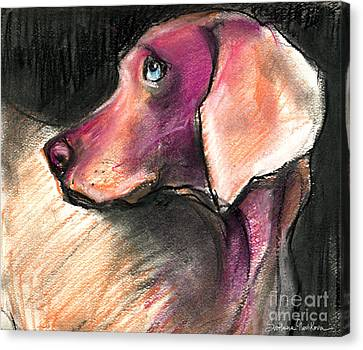 Weimaraner Dog Painting Canvas Print by Svetlana Novikova