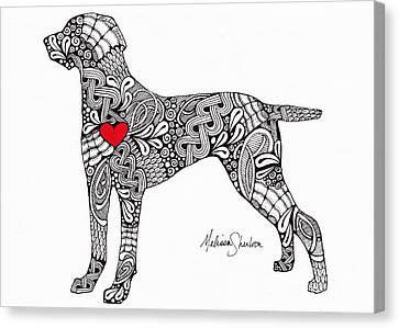 Canvas Print featuring the drawing Weimaraner by Melissa Sherbon