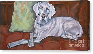Weimaraner Reclining Canvas Print by Susan A Becker