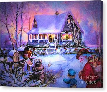 Welcome Santa - Retro Vintage Inspired Christmas Scene Canvas Print by Lianne Schneider