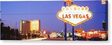 Welcome Sign Las Vegas Nv Canvas Print by Panoramic Images