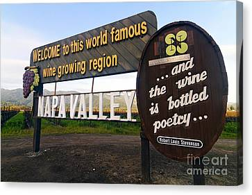 Welcome Sign To Napa Valley Canvas Print by George Oze