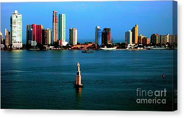 Welcome To Cartagena Colombia Canvas Print by Ann Johndro-Collins