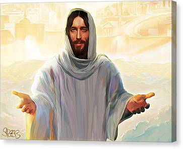 Smiling Jesus Canvas Print - Welcome To Heaven by Mark Spears