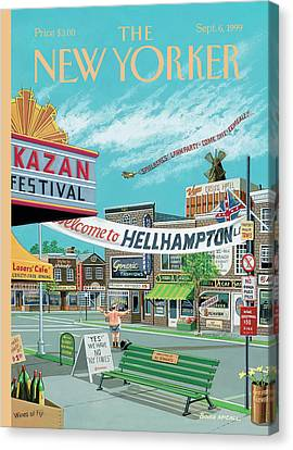 Welcome To Hellhampton Canvas Print by Bruce McCall