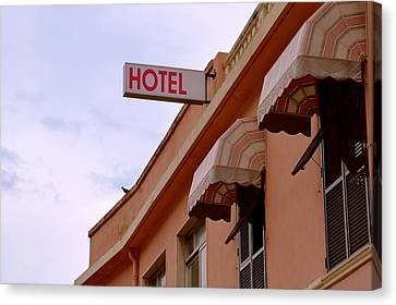 Welcome To Hotel Ventimiglia Canvas Print by Benoit Charon
